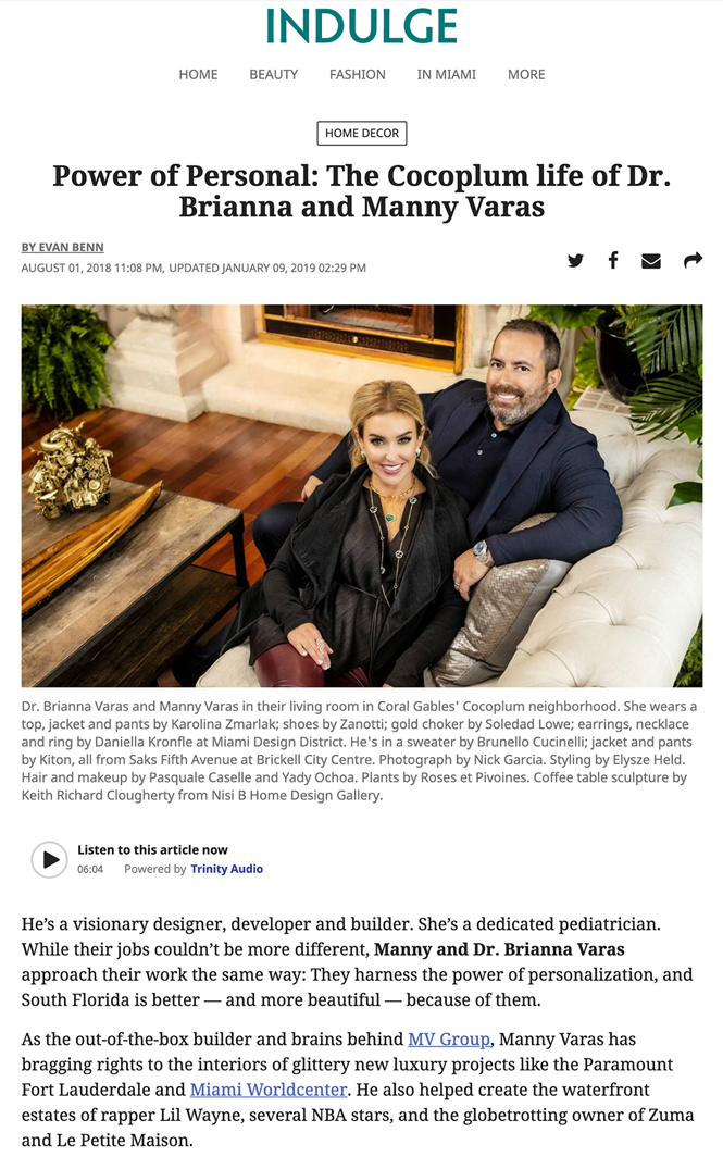 Miami New Times – Power of Personal: the Cocoplum Life of Dr. Brianna and Manny Varas