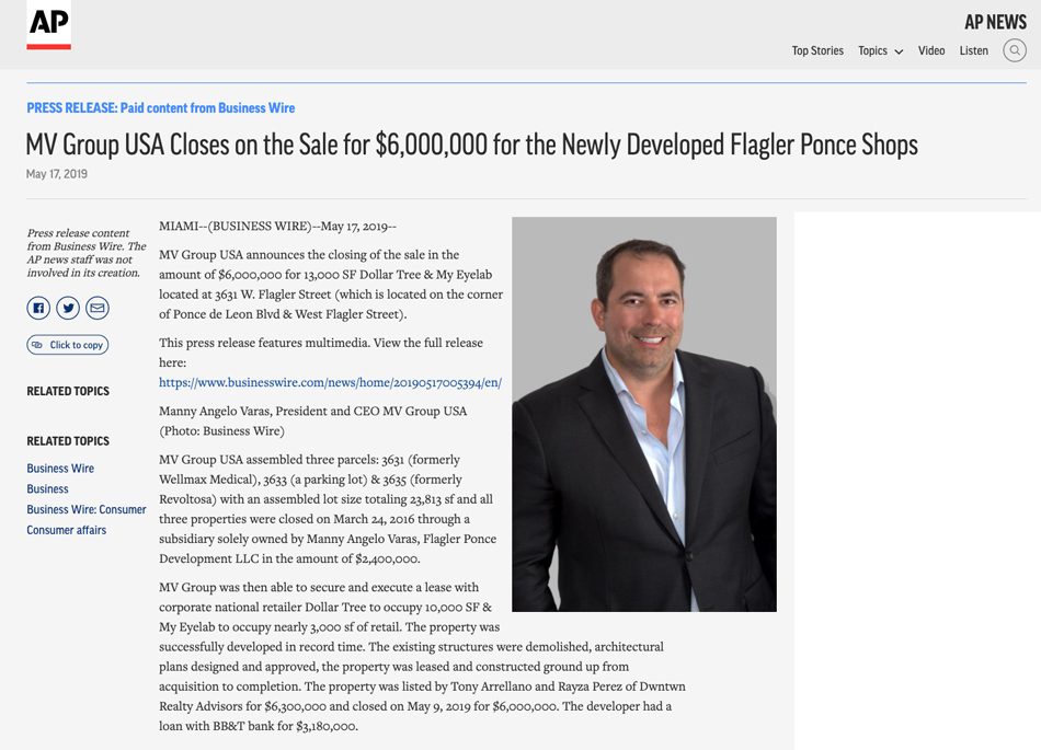 Ap News – MV Group Usa Closes on the Sale for $6,000,000 for the Newly Developed Flagler Ponce Shops