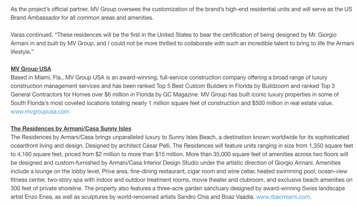 Businesswire – MV Group Usa Announces First Armani/casa Model Residence in America