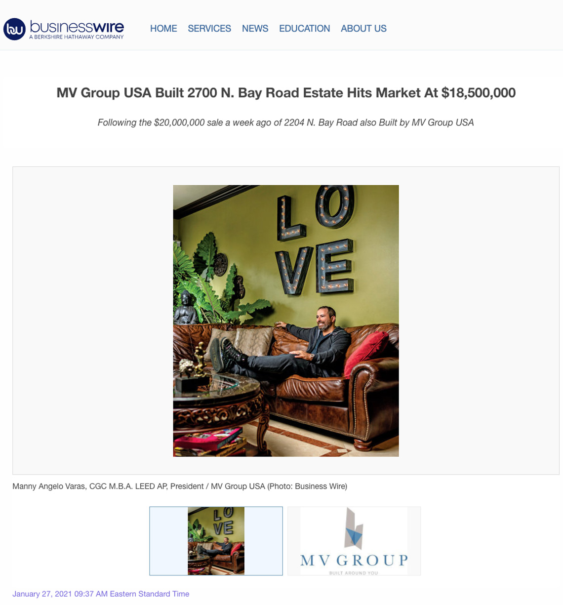 Businesswire – MV Group Usa Built 2700 N. Bay Road Estate Hits Market at $18,500,000