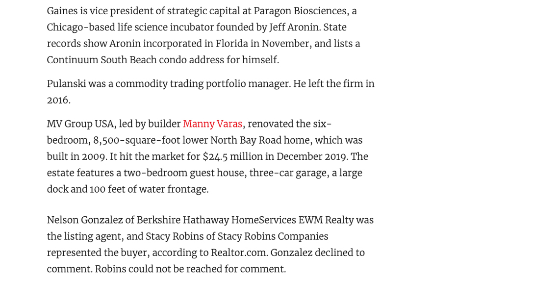 The Real Deal – Former Hedge Funder Sells Waterfront North Bay Road Mansion for $20m