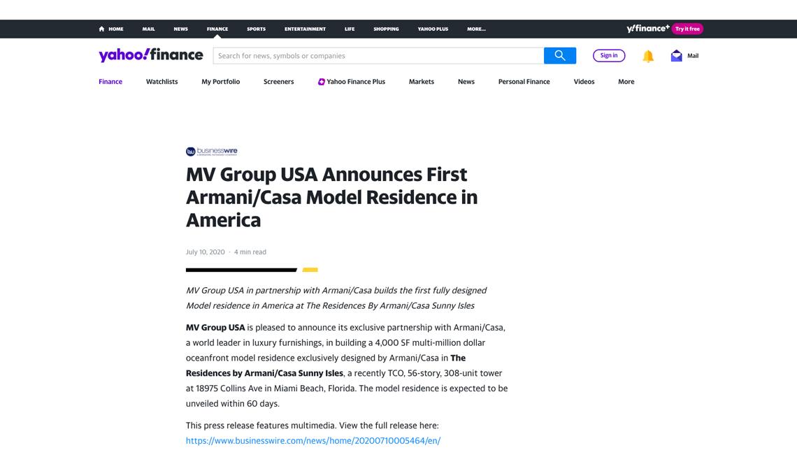 Yahoo Finance – MV Group Usa Announces First Armani/casa Model Residence in America