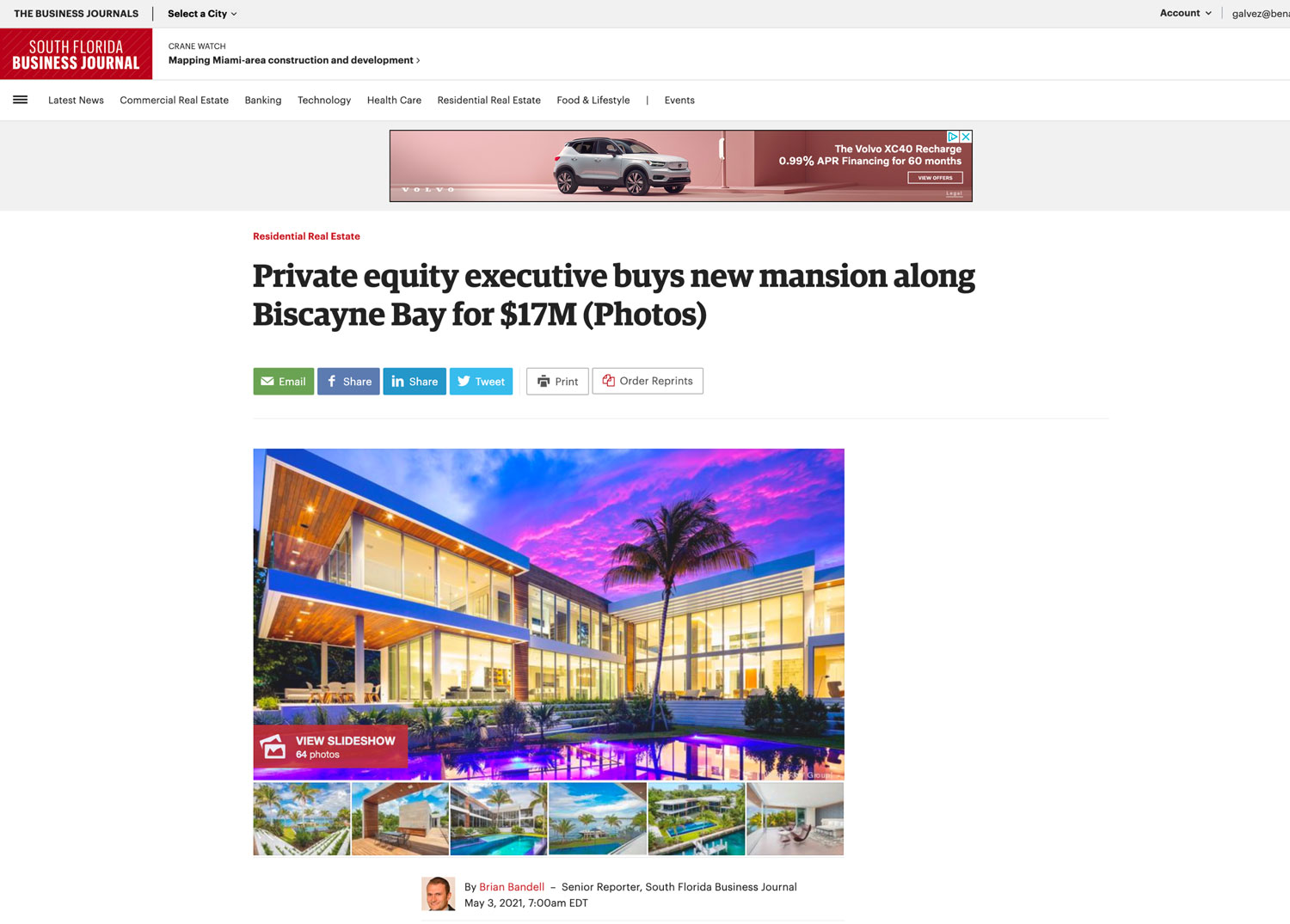 South Florida Business Journal – Private Equity Executive Buys New Mansion Along Biscayne Bay for $17m