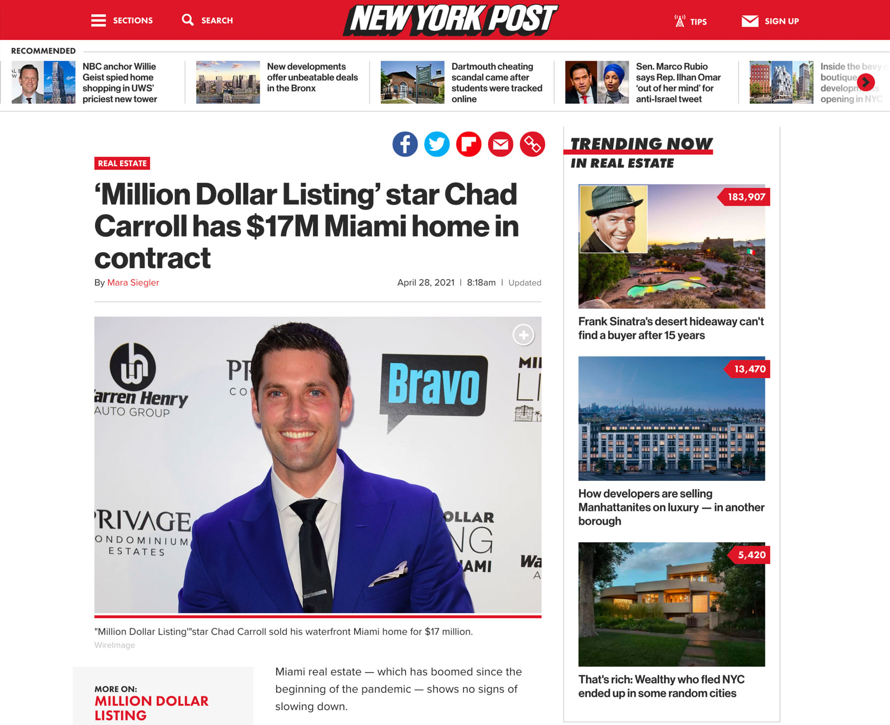 Ny Post – 'million Dollar Listing' Star Chad Carroll Has $17m Miami Home in Contract