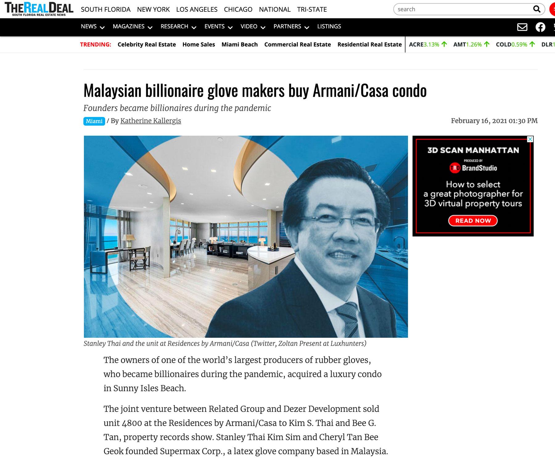 The Real Deal – Malaysian Billionaire Glove Makers Buy Armani/casa Condo