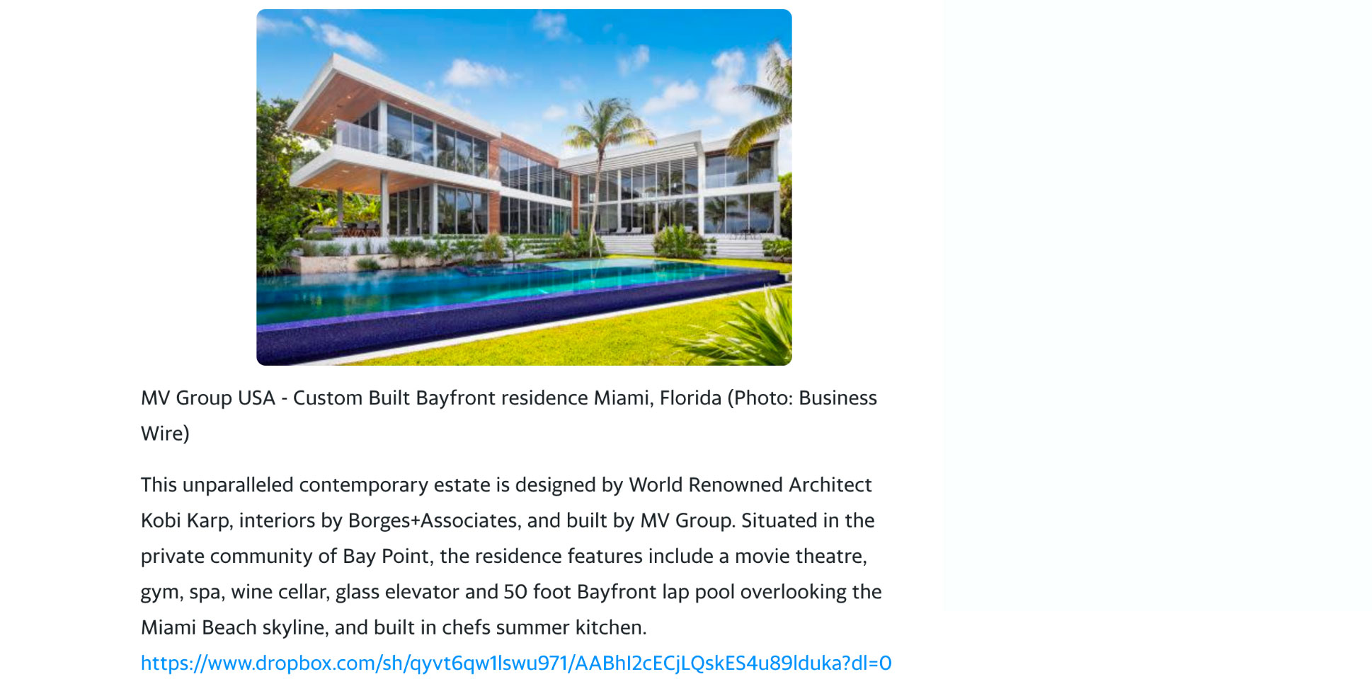 Yahoo – MV Group Usa Built Bayfront New Construction Mansion Hits Market at $20,000,000