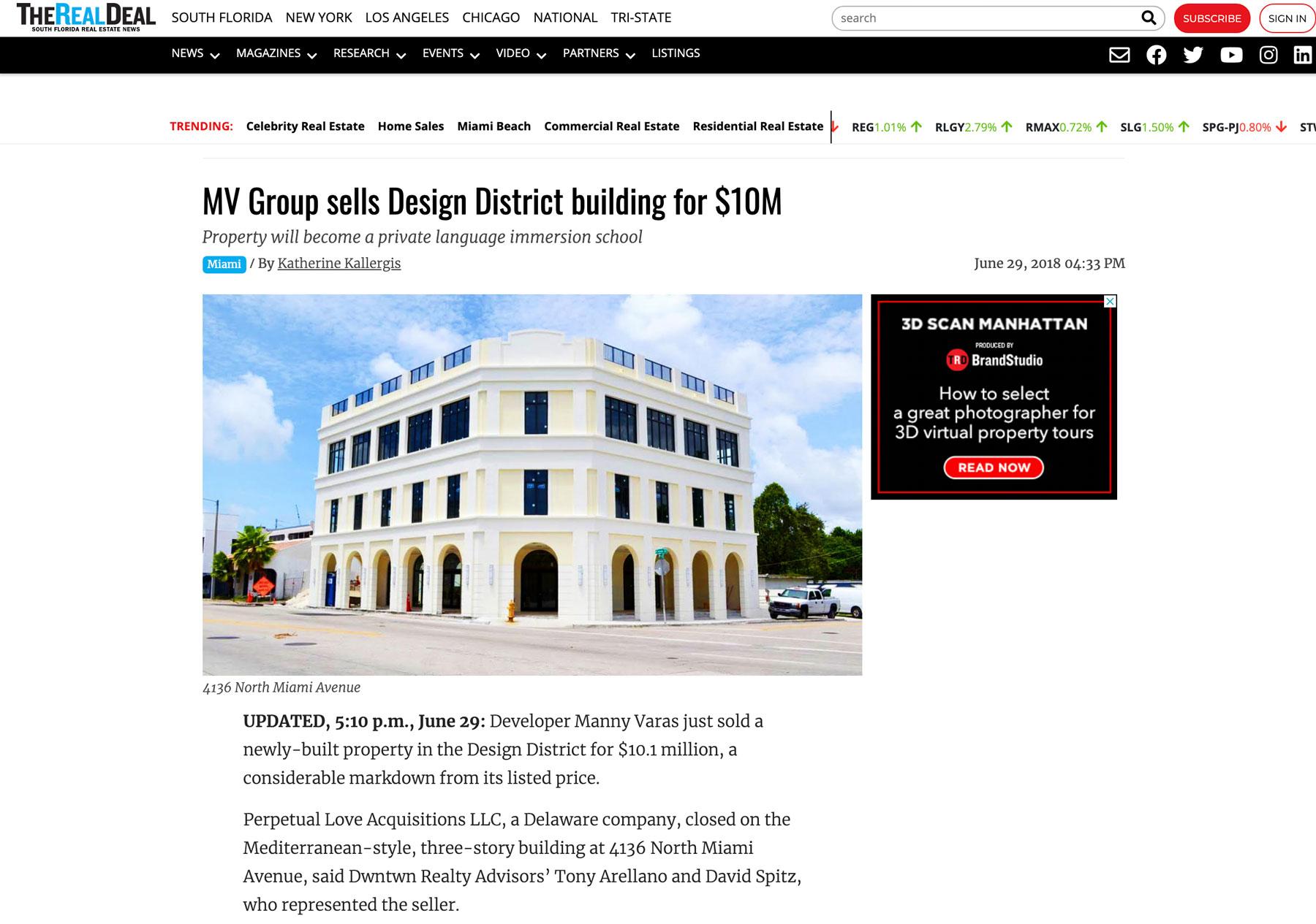The Real Deal – MV Group Vende El Edificio Design District Por $ 10 Millones