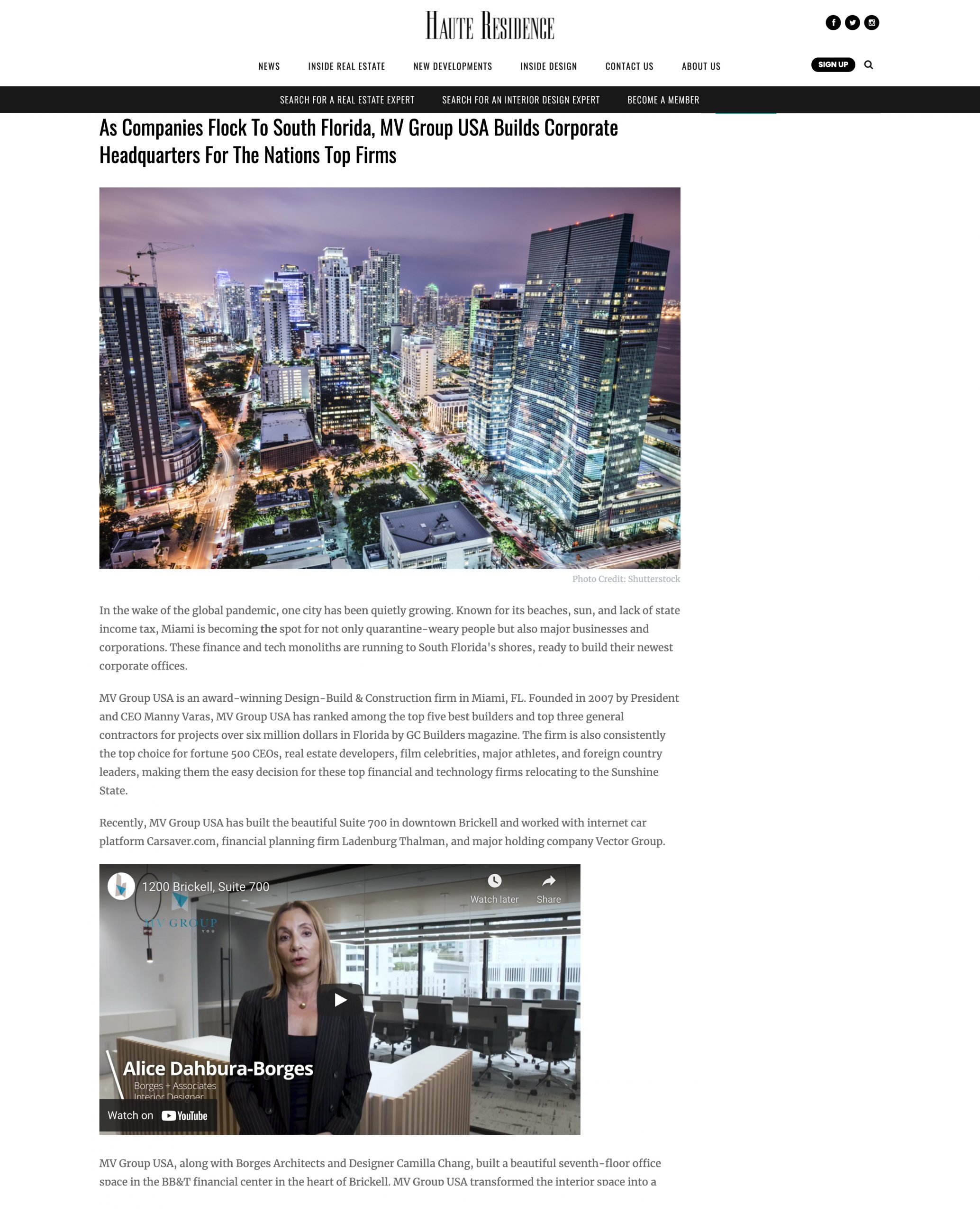 Haute Residence – MV Group USA Builds Corporate Headquarters For The Nations Top Firms