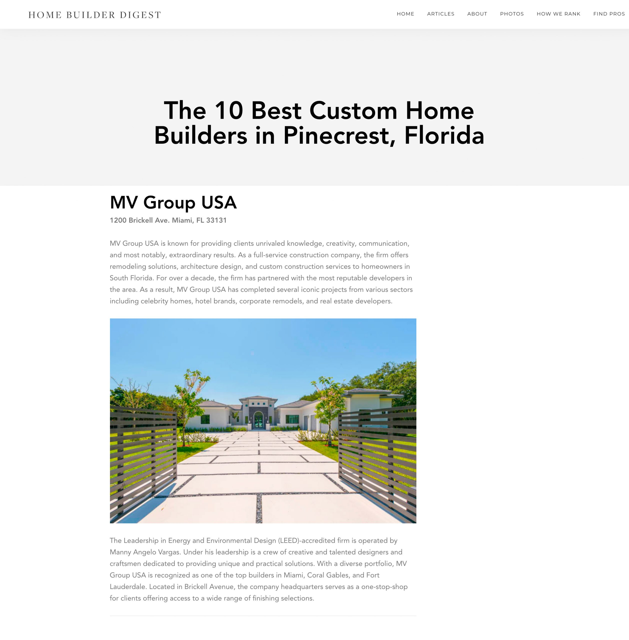 Home Builder Digest – The 10 Best Custom Home Builders in Pinecrest, Florida
