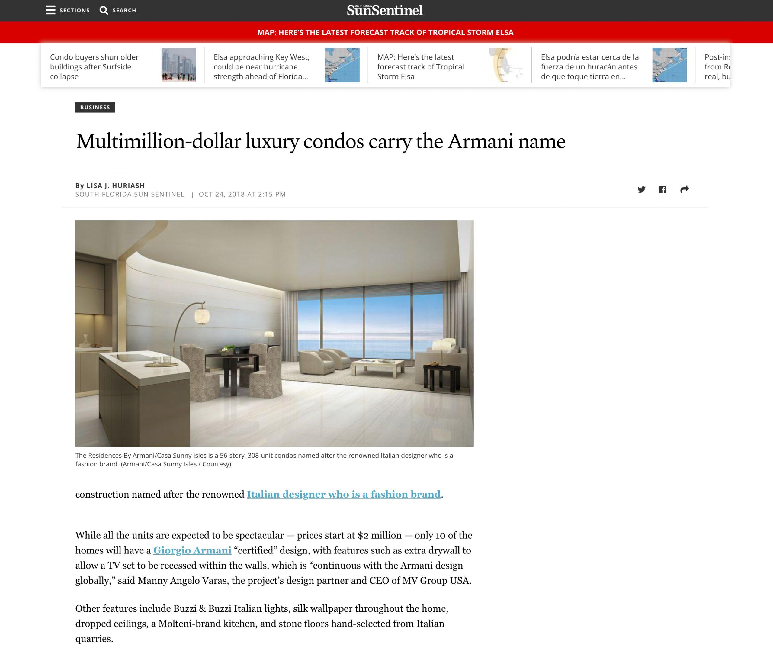 SunSentinel – Multimillion-dollar luxury condos carry the Armani name